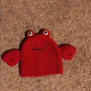Handmade crochet crab beanie for  a baby